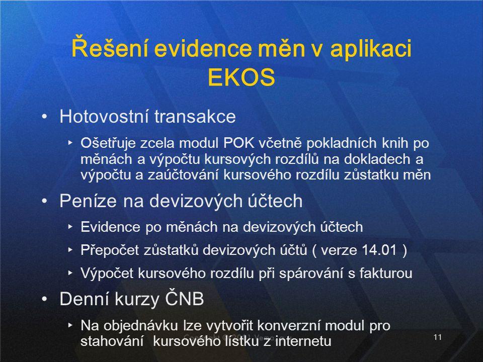 Řešení evidence měn v aplikaci EKOS