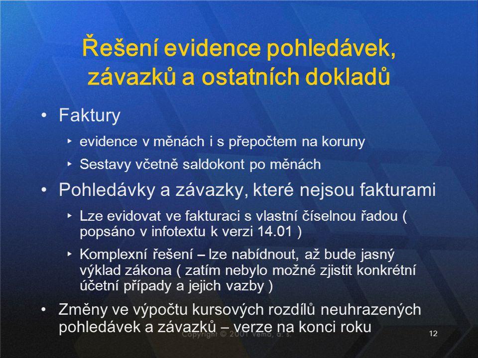 Řešení evidence pohledávek, závazků a ostatních dokladů