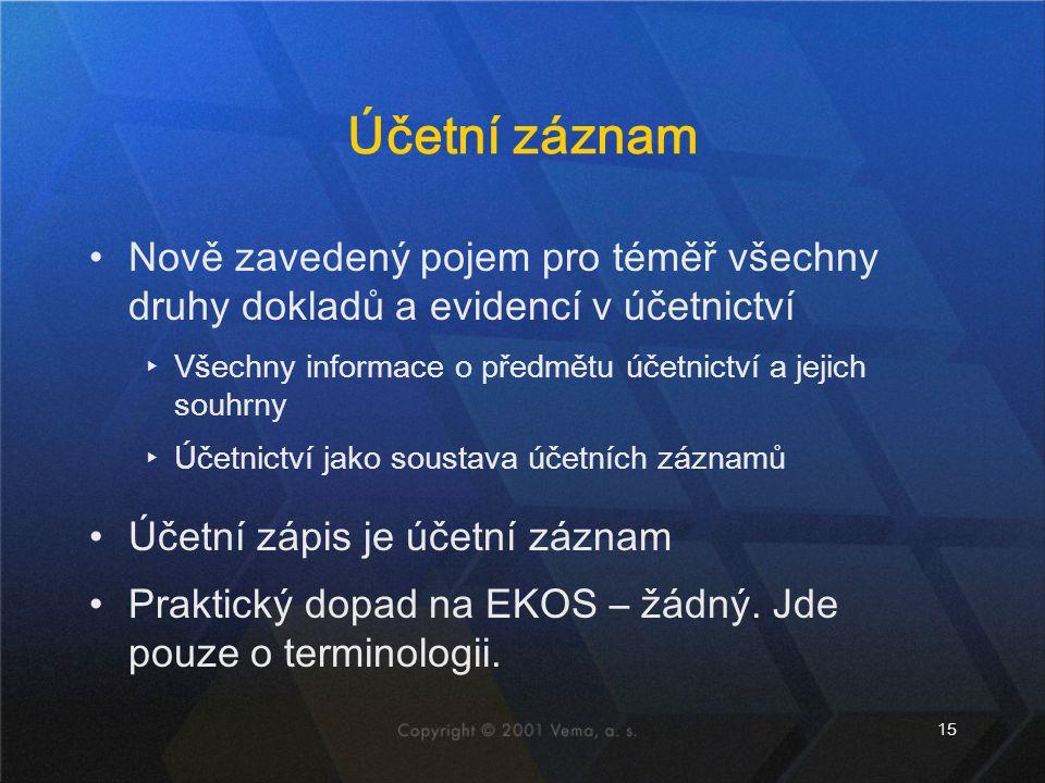 Účetní záznam Nově zavedený pojem pro téměř všechny druhy dokladů a evidencí v účetnictví. Všechny informace o předmětu účetnictví a jejich souhrny.