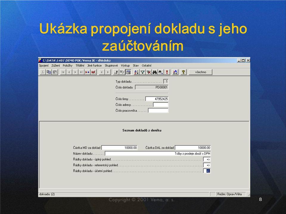 Ukázka propojení dokladu s jeho zaúčtováním