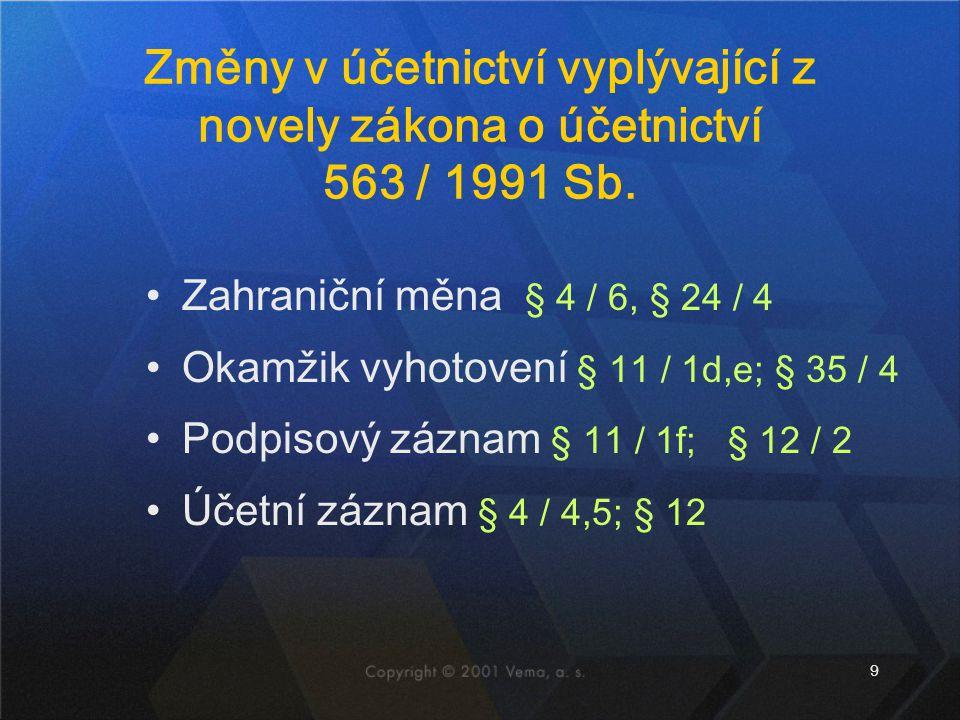 Změny v účetnictví vyplývající z novely zákona o účetnictví 563 / 1991 Sb.