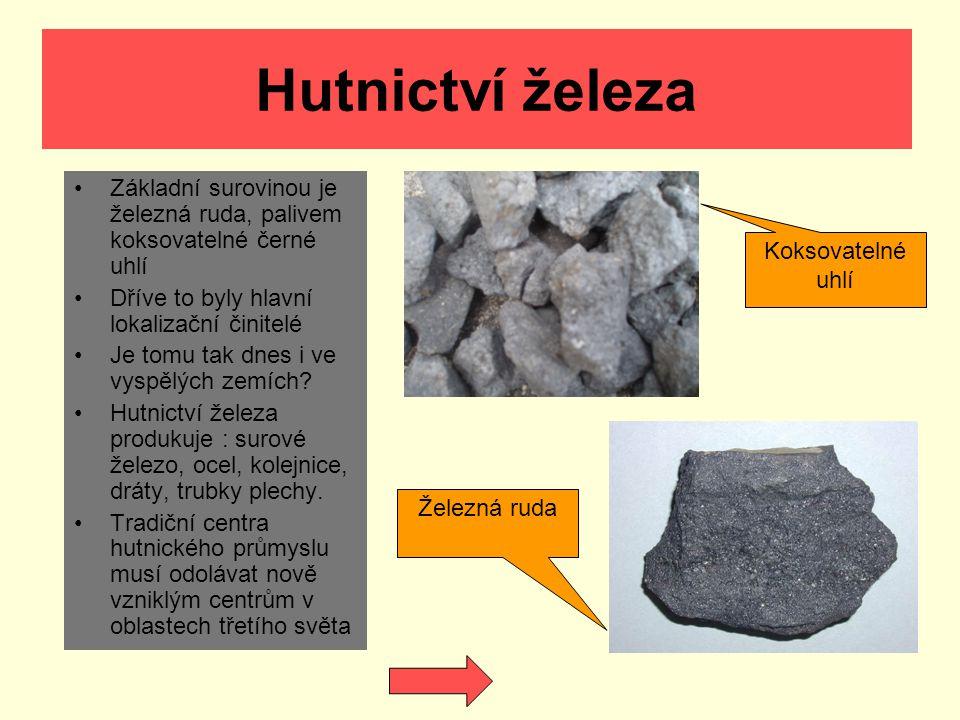 Hutnictví železa Základní surovinou je železná ruda, palivem koksovatelné černé uhlí. Dříve to byly hlavní lokalizační činitelé.