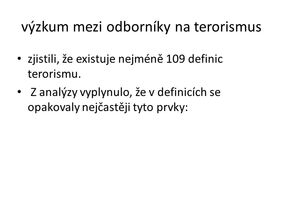 výzkum mezi odborníky na terorismus