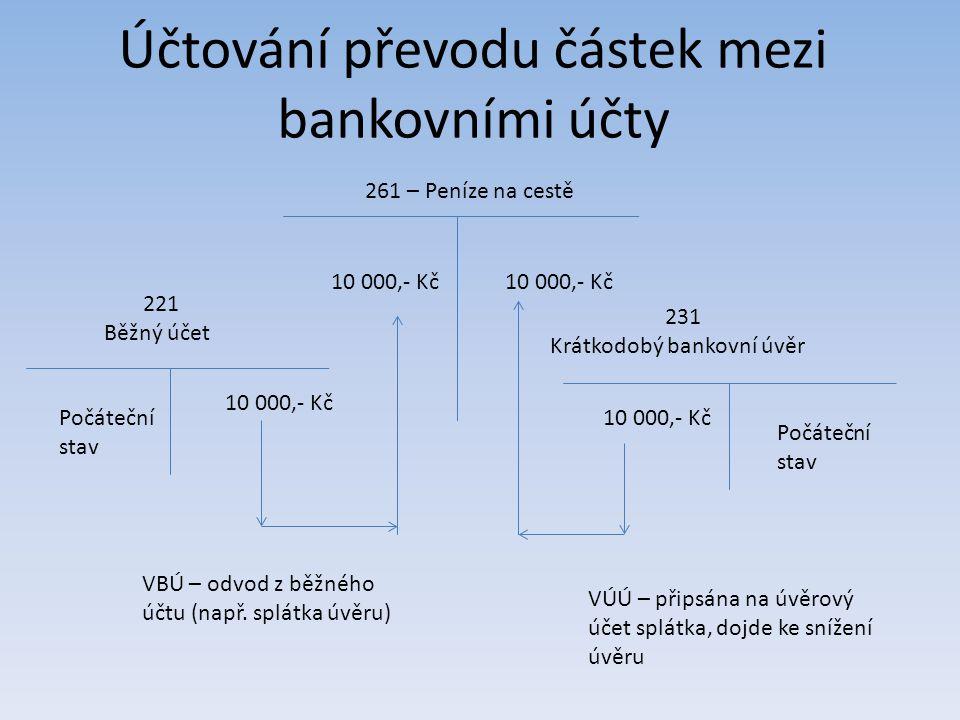 Účtování převodu částek mezi bankovními účty