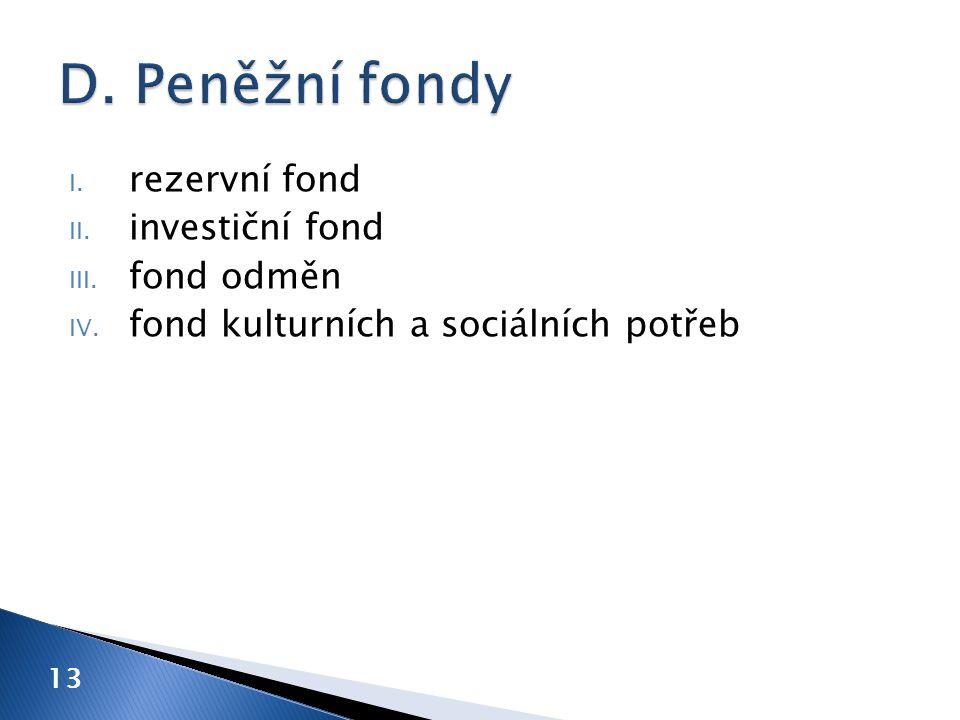 D. Peněžní fondy rezervní fond investiční fond fond odměn