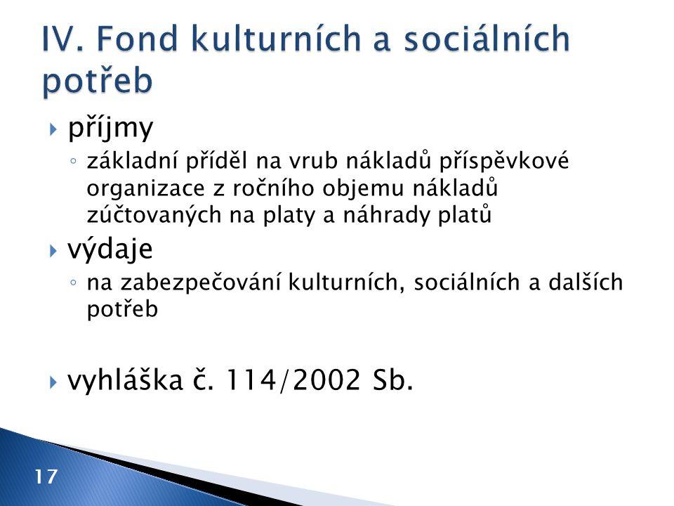 IV. Fond kulturních a sociálních potřeb