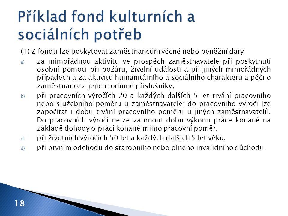 Příklad fond kulturních a sociálních potřeb