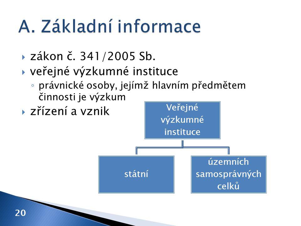 A. Základní informace zákon č. 341/2005 Sb. veřejné výzkumné instituce