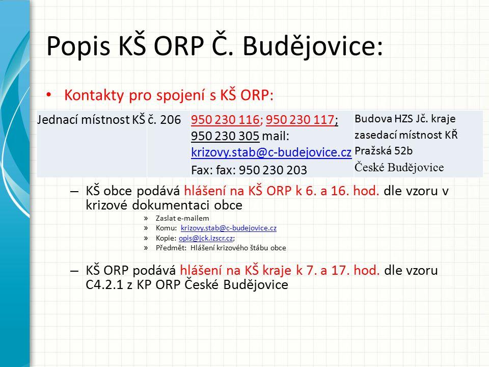 Popis KŠ ORP Č. Budějovice: