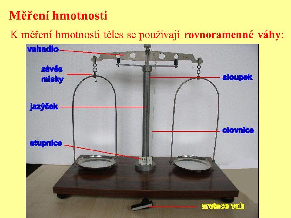 Měření hmotnosti K měření hmotnosti těles se používají rovnoramenné váhy: