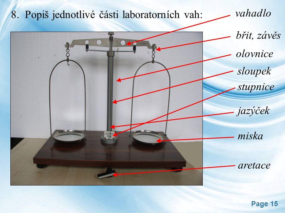 vahadlo 8. Popiš jednotlivé části laboratorních vah: břit, závěs. olovnice. sloupek. stupnice.