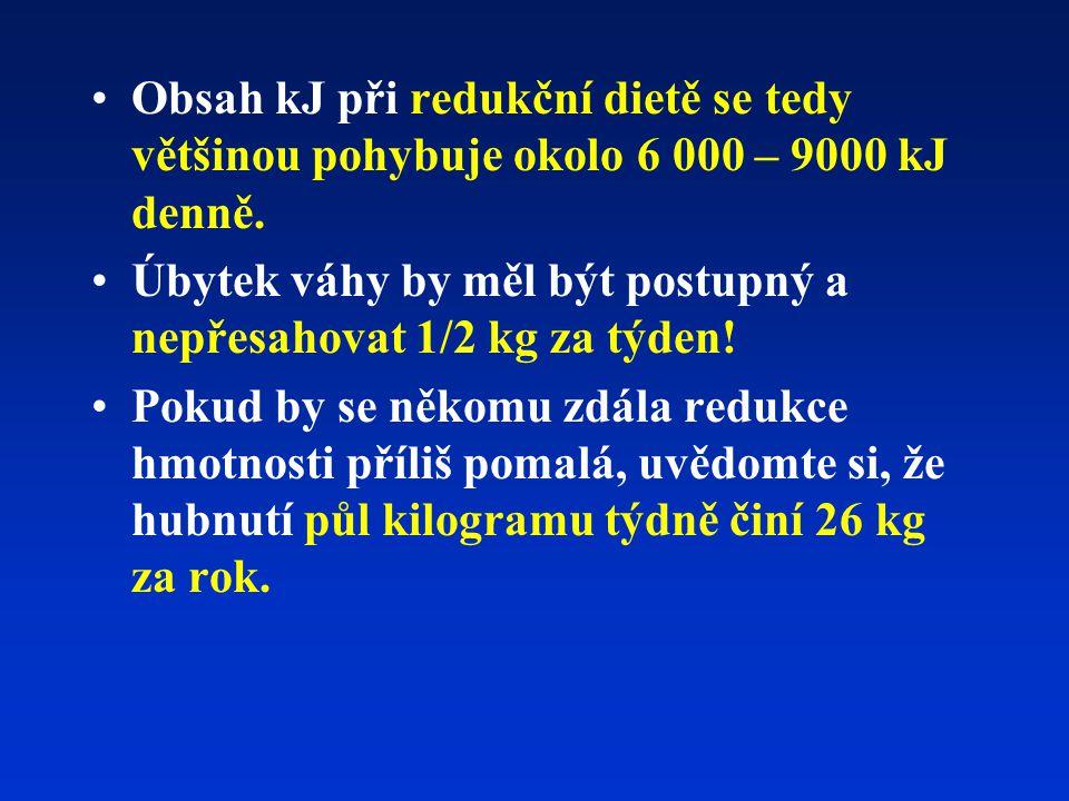 Obsah kJ při redukční dietě se tedy většinou pohybuje okolo 6 000 – 9000 kJ denně.