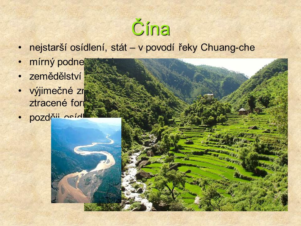 Čína nejstarší osídlení, stát – v povodí řeky Chuang-che