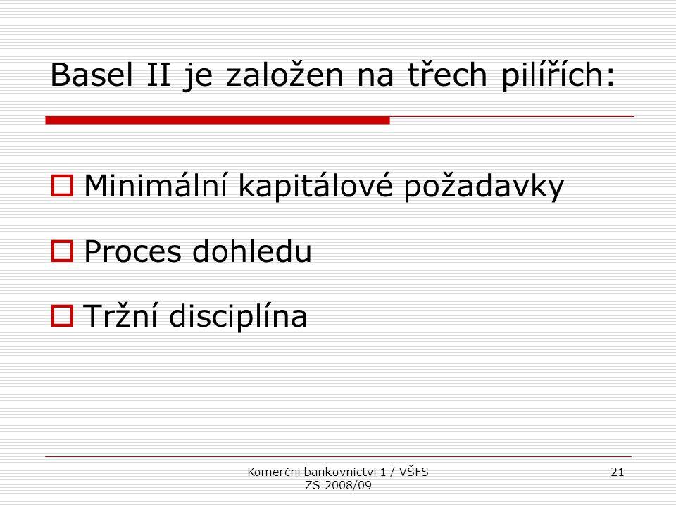 Basel II je založen na třech pilířích: