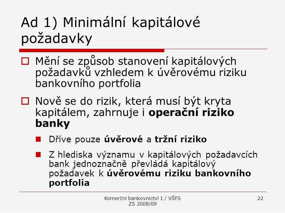 Ad 1) Minimální kapitálové požadavky