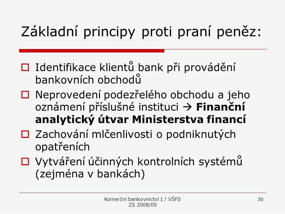 Základní principy proti praní peněz: