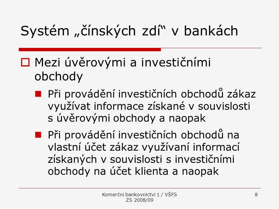 """Systém """"čínských zdí v bankách"""