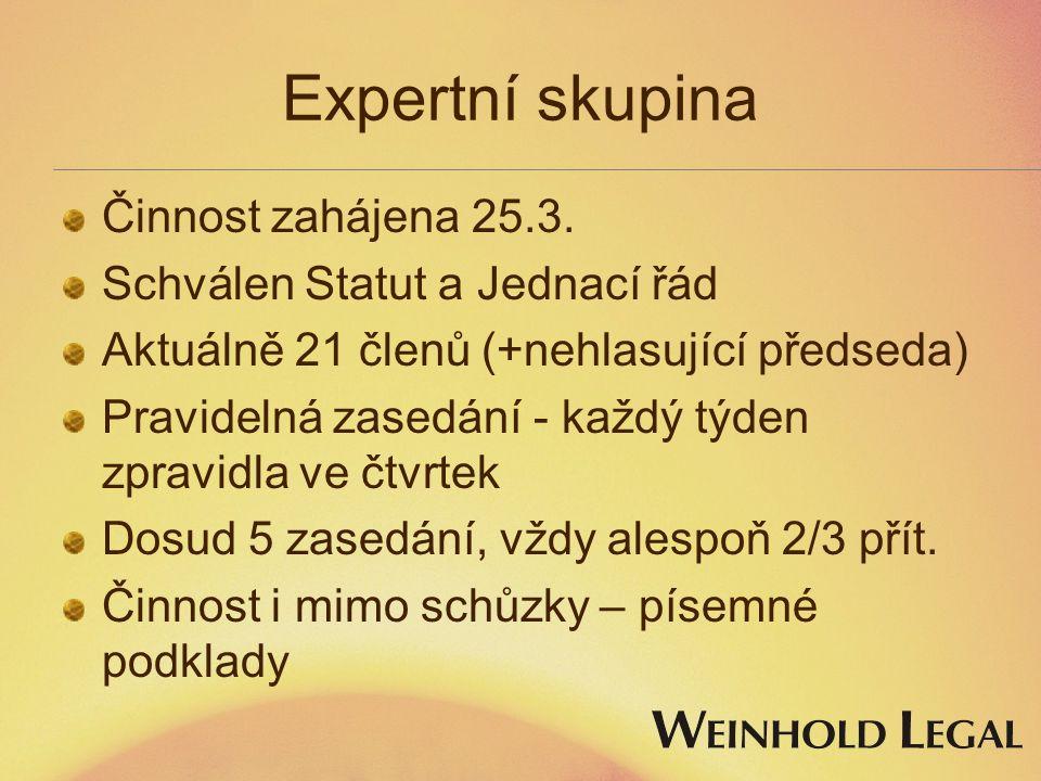 Expertní skupina Činnost zahájena 25.3. Schválen Statut a Jednací řád