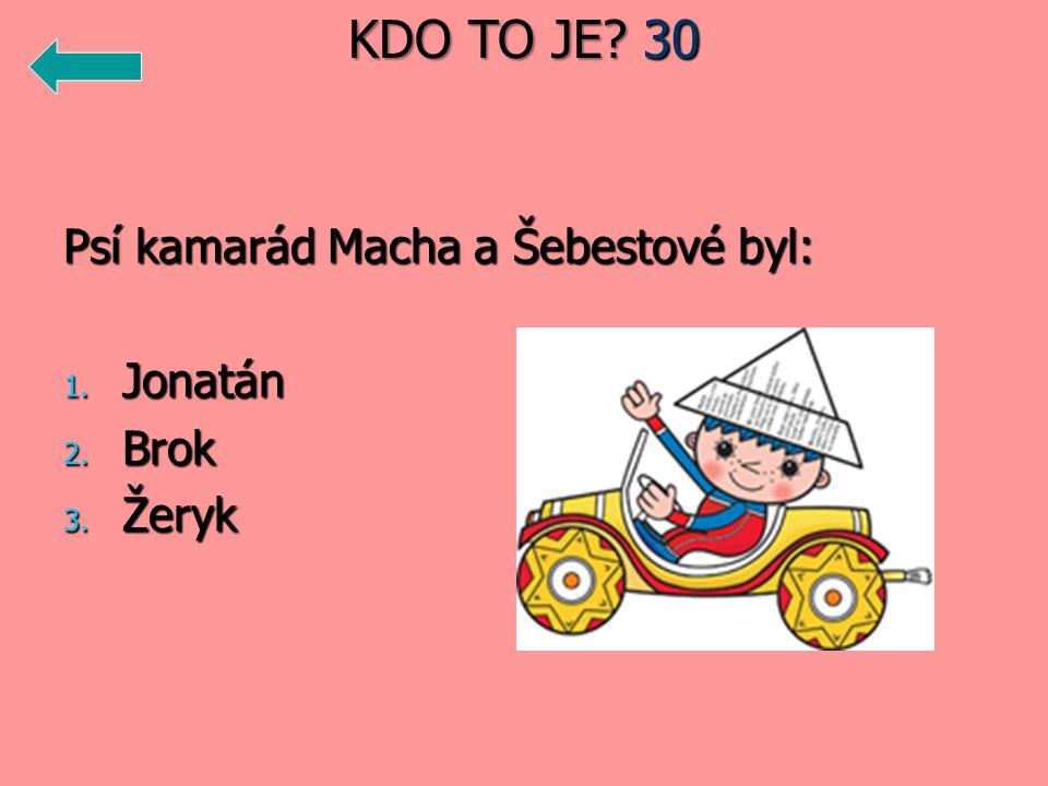 KDO TO JE 30 Psí kamarád Macha a Šebestové byl: Jonatán Brok Žeryk