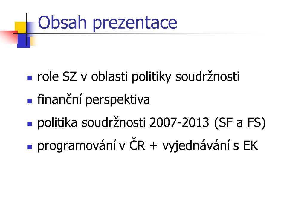 Obsah prezentace role SZ v oblasti politiky soudržnosti