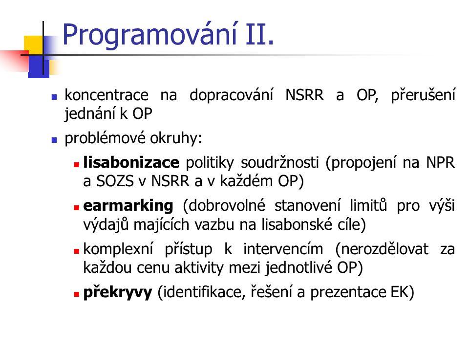 Programování II. koncentrace na dopracování NSRR a OP, přerušení jednání k OP. problémové okruhy: