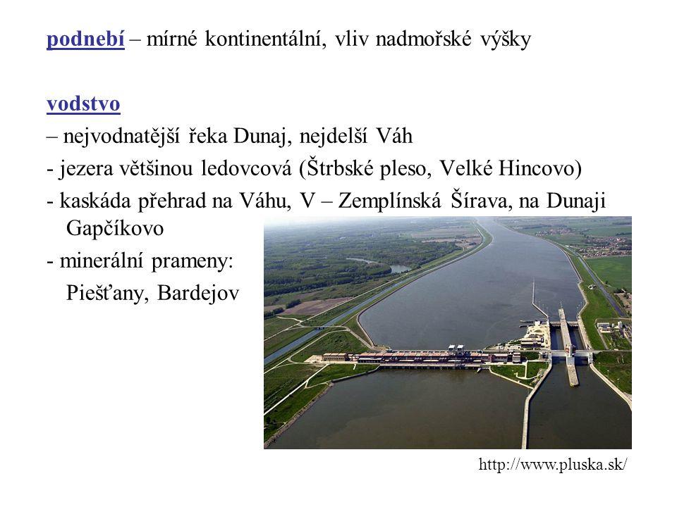 podnebí – mírné kontinentální, vliv nadmořské výšky vodstvo – nejvodnatější řeka Dunaj, nejdelší Váh - jezera většinou ledovcová (Štrbské pleso, Velké Hincovo) - kaskáda přehrad na Váhu, V – Zemplínská Šírava, na Dunaji Gapčíkovo - minerální prameny: Piešťany, Bardejov