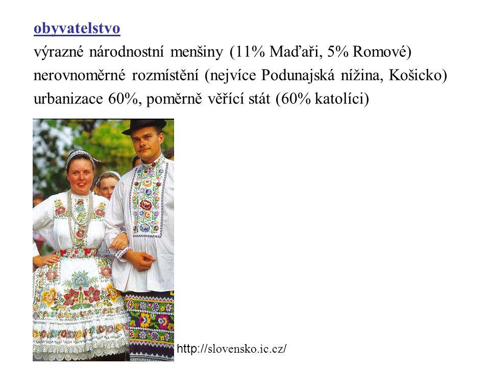výrazné národnostní menšiny (11% Maďaři, 5% Romové)
