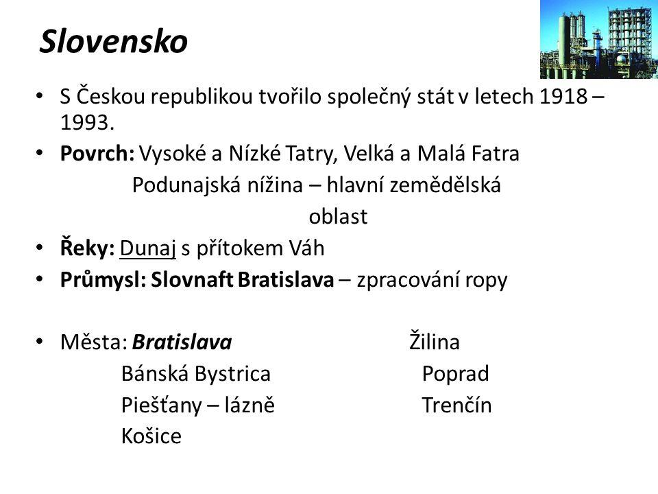 Slovensko S Českou republikou tvořilo společný stát v letech 1918 – 1993. Povrch: Vysoké a Nízké Tatry, Velká a Malá Fatra.