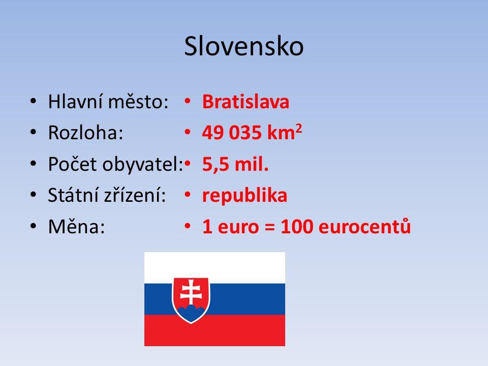 Slovensko Hlavní město: Rozloha: Počet obyvatel: Státní zřízení: Měna: