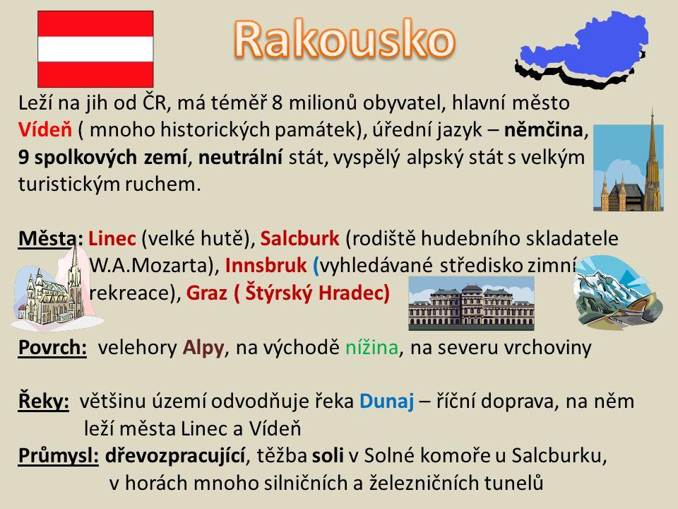 Rakousko Leží na jih od ČR, má téměř 8 milionů obyvatel, hlavní město