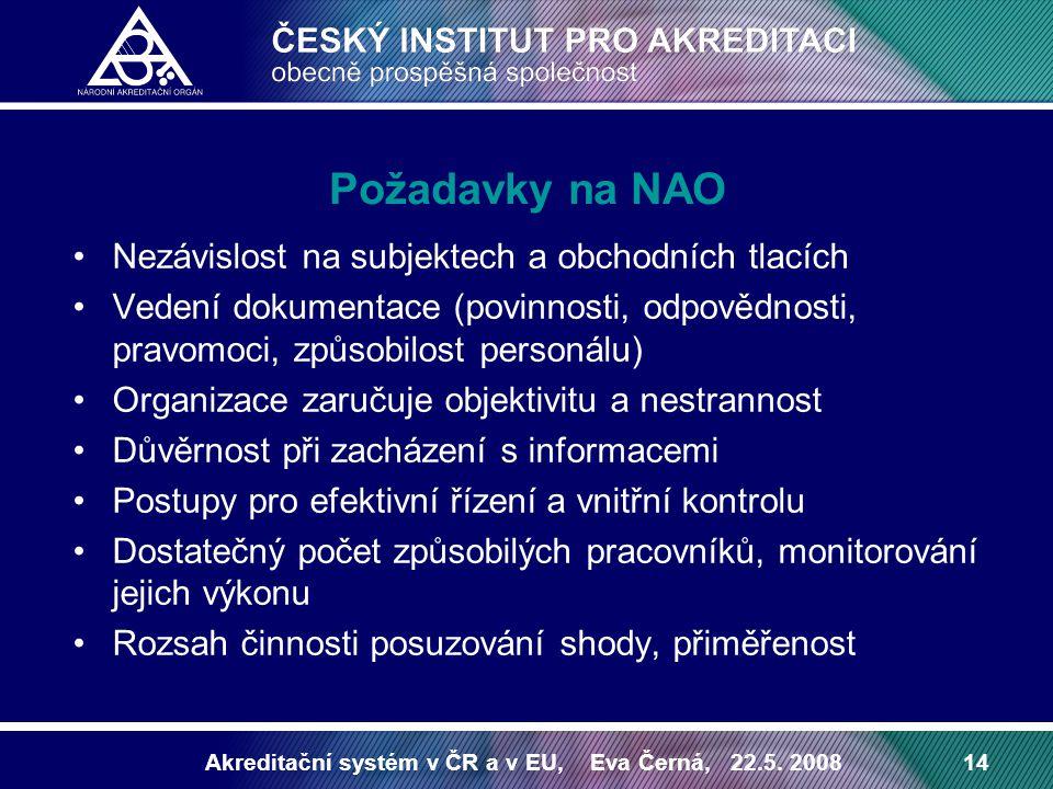 Požadavky na NAO Nezávislost na subjektech a obchodních tlacích