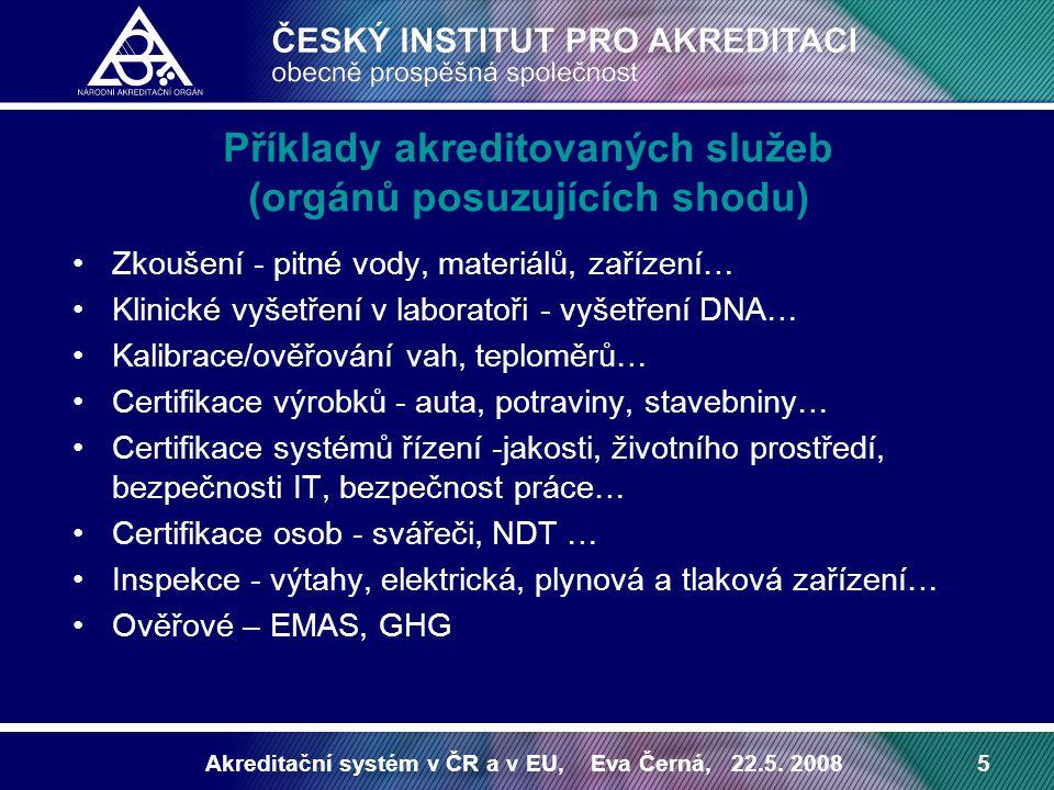 Příklady akreditovaných služeb (orgánů posuzujících shodu)