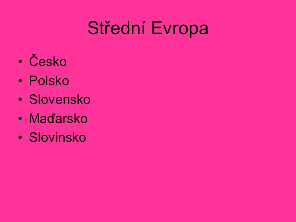 Střední Evropa Česko Polsko Slovensko Maďarsko Slovinsko