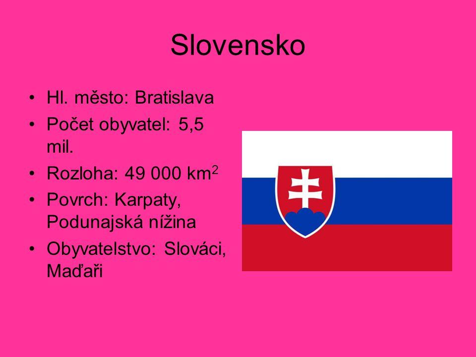 Slovensko Hl. město: Bratislava Počet obyvatel: 5,5 mil.