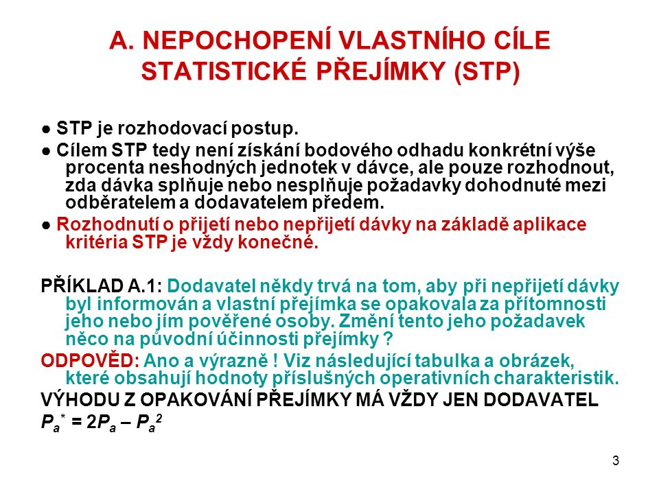 A. NEPOCHOPENÍ VLASTNÍHO CÍLE STATISTICKÉ PŘEJÍMKY (STP)