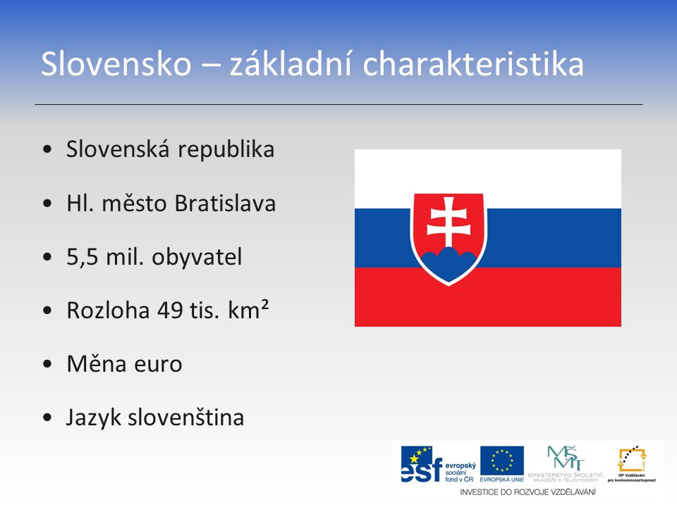 Slovensko – základní charakteristika