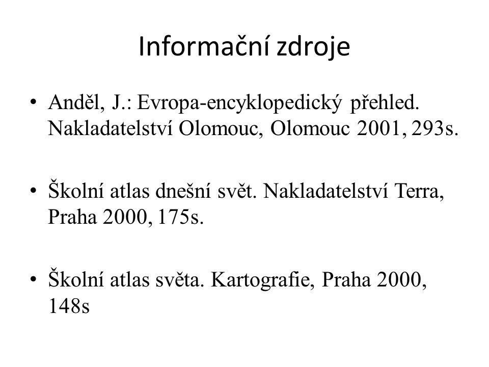 Informační zdroje Anděl, J.: Evropa-encyklopedický přehled. Nakladatelství Olomouc, Olomouc 2001, 293s.