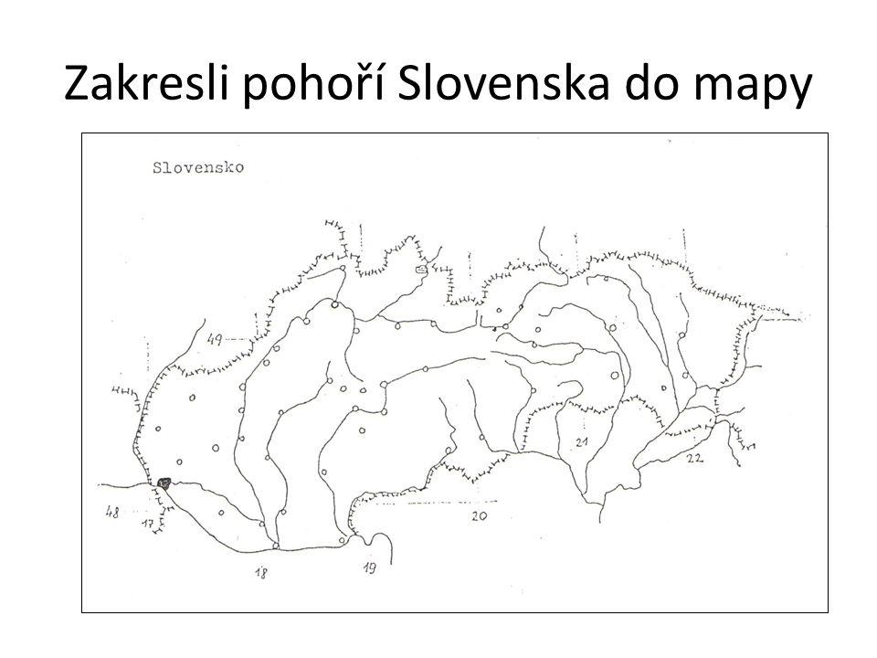 Zakresli pohoří Slovenska do mapy