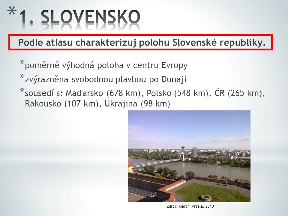 Podle atlasu charakterizuj polohu Slovenské republiky.