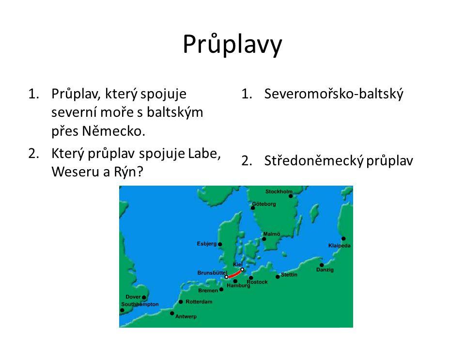 Průplavy Průplav, který spojuje severní moře s baltským přes Německo.