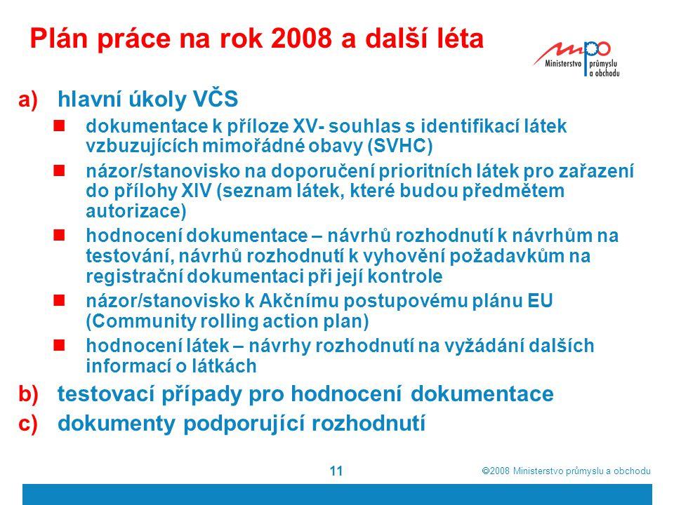 Plán práce na rok 2008 a další léta