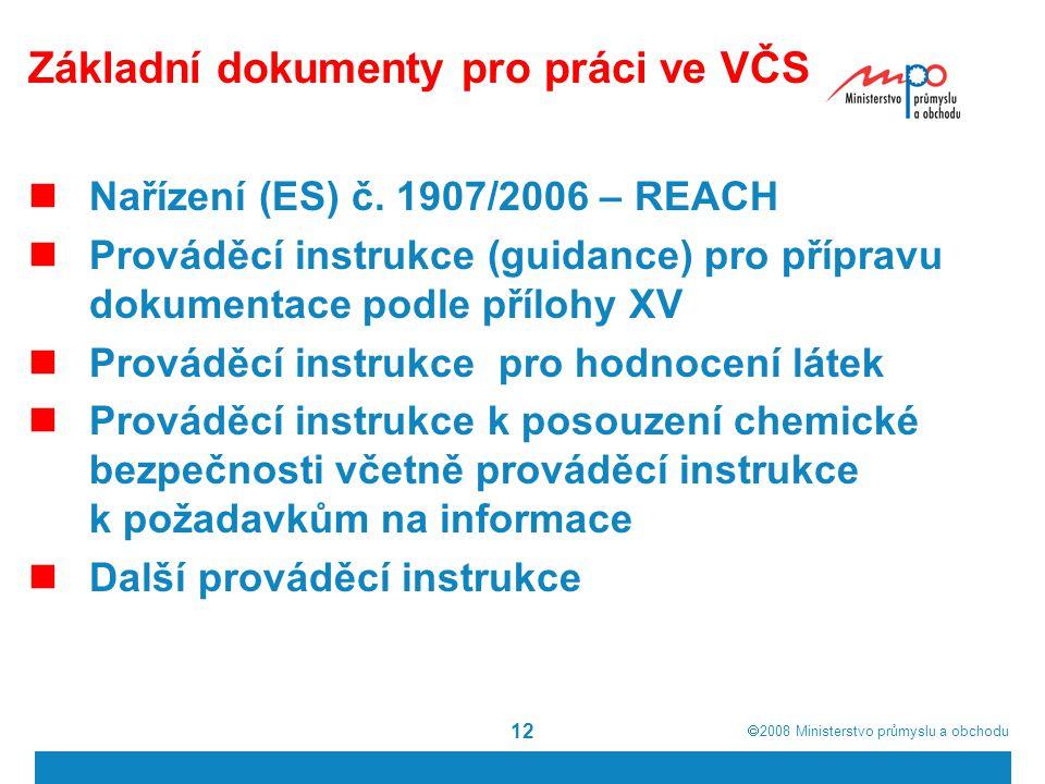 Základní dokumenty pro práci ve VČS
