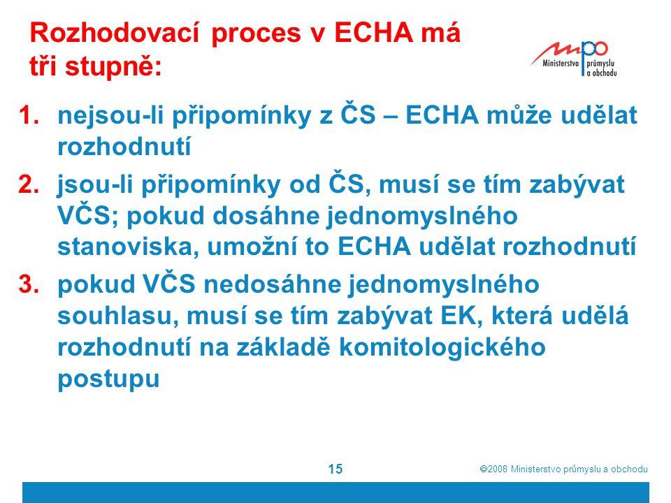 Rozhodovací proces v ECHA má tři stupně: