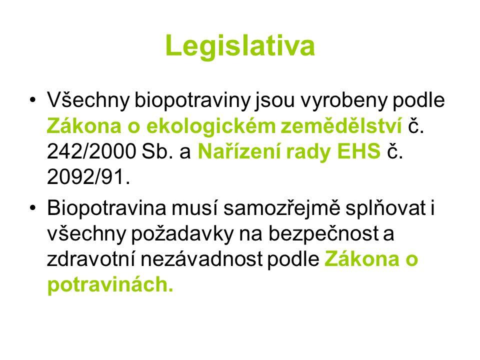 Legislativa Všechny biopotraviny jsou vyrobeny podle Zákona o ekologickém zemědělství č. 242/2000 Sb. a Nařízení rady EHS č. 2092/91.