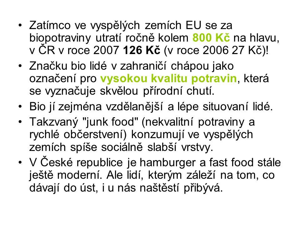 Zatímco ve vyspělých zemích EU se za biopotraviny utratí ročně kolem 800 Kč na hlavu, v ČR v roce 2007 126 Kč (v roce 2006 27 Kč)!