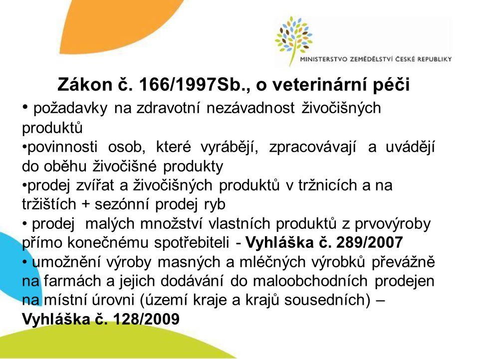 Zákon č. 166/1997Sb., o veterinární péči