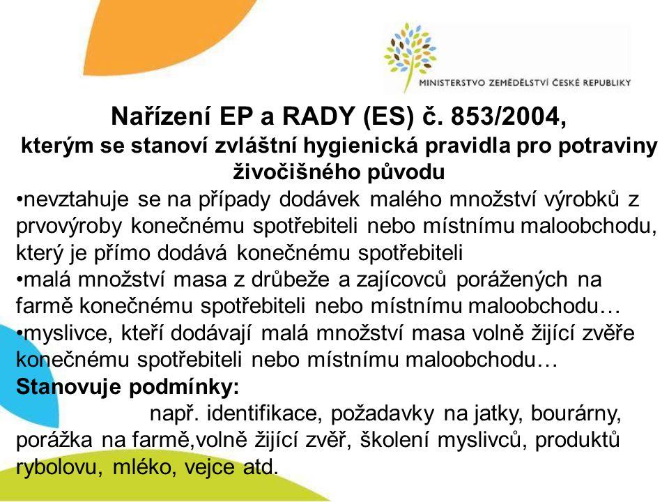 Nařízení EP a RADY (ES) č. 853/2004,