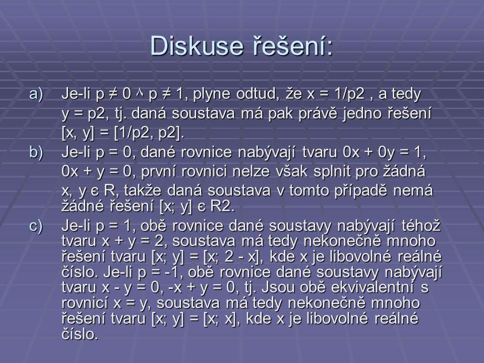 Diskuse řešení: Je-li p ≠ 0 ۸ p ≠ 1, plyne odtud, že x = 1/p2 , a tedy