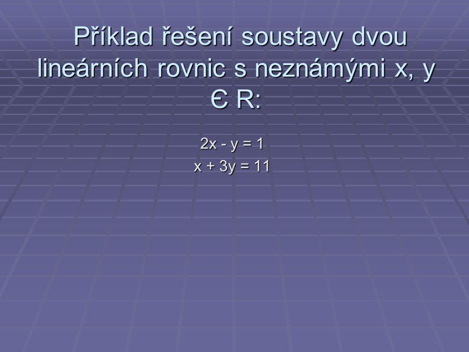 Příklad řešení soustavy dvou lineárních rovnic s neznámými x, y Є R: