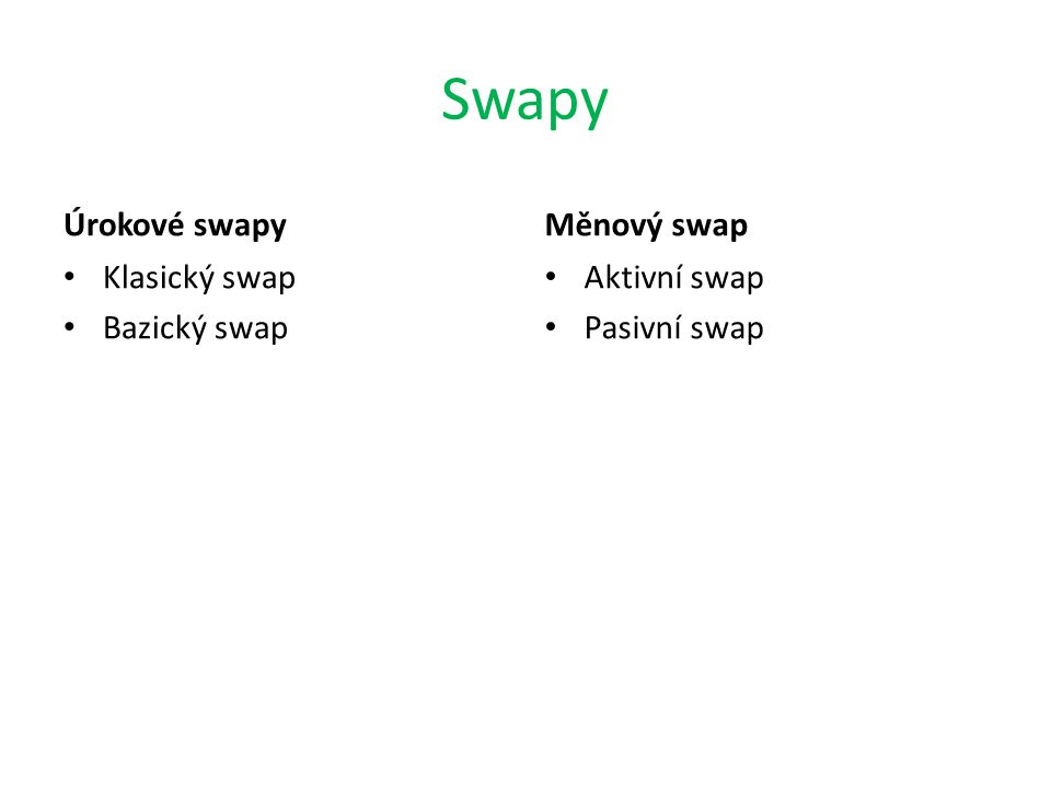 Swapy Úrokové swapy Měnový swap Klasický swap Bazický swap